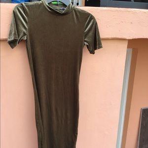 Green velvet like material dress